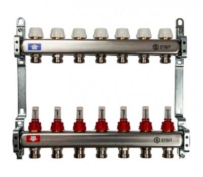Коллектор для теплого пола с расходомерами, из нерж. стали  с 7-ю отводами на 3/4 (евроконус) SMS 0917 000007 STOUT