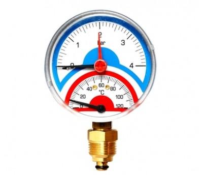 """10025526 Термоманометр радиальный F+R828 1/2"""",80 мм (0-4 бар,120гр.) 10025526"""