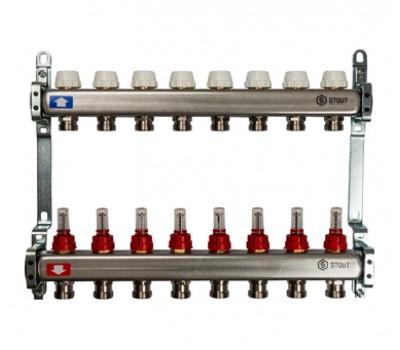 Коллектор для теплого пола с расходомерами, из нерж. стали  с 8-ю отводами на 3/4 (евроконус) SMS 0917 000008 STOUT