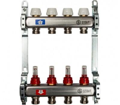 Коллектор для теплого пола с расходомерами, из нерж. стали  с 4-мя отводами на 3/4 (евроконус) SMS 0917 000004 STOUT